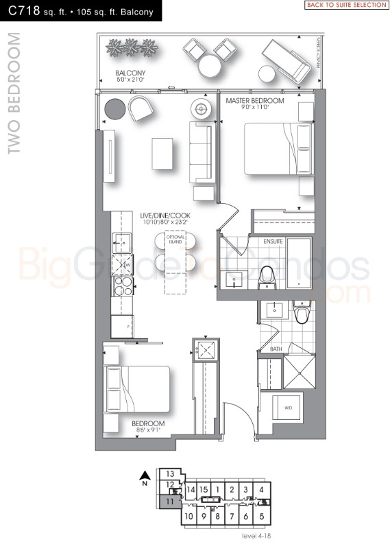 New condo floor plans toronto on for 1 bedroom condo floor plans